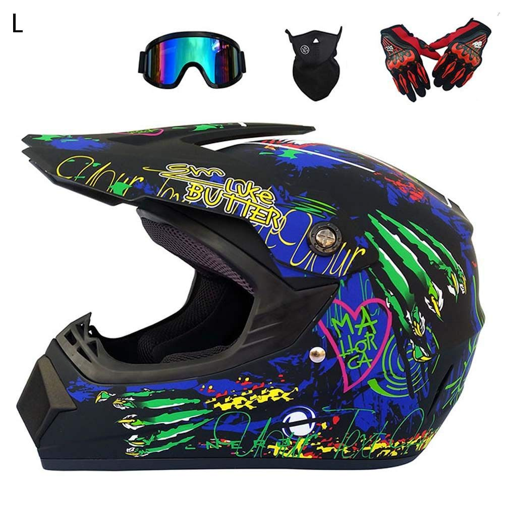CatcherMy Full Face Motorbike Motorcycle Helmet Cross-Country Motorcycle Helmet Road Racing Helmet Set With Glasses Mask And Gloves