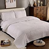 Brandream Queen Size White Bed Quilt Set Luxury Bedspread