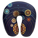 IEOQKE Mandala Style Solar System Neck Pillow Creative U Type For Travel Camping Cervical Pillows With Resilient Material