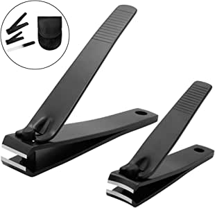 Booieland Black Nail Clippers Set - Stainless Steel Fingernail Clippers, Toenail Clippers, Nail Clippers for Men, Nail Clippers for Women, Sharp Nail Cutter with Nail File Leather Case(Set of 3)