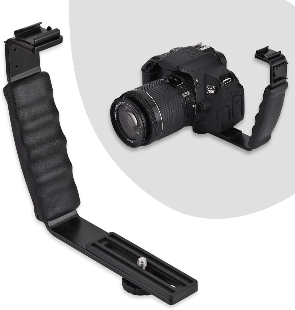 Lightweight Sturdy Durable Dual Hot Shoes Holder Mount Adapter Mount DV Microphone LED Light with Two hot Shoes Taidda Camera Flash L-Bracket
