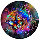 Designart ''Butterfly over Abstract Background Abstract Large'' Metal Wall Art, 38 x 38'', Blue