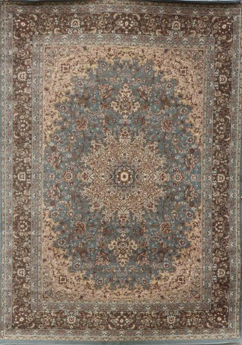 New City Light Blue Silver Traditional Isfahan Wool Persian Area Rugs 5 2 x 7 3