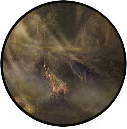 Mnsruu Alfombra Redonda con diseño de Unicornio en Solitario Antideslizante para Interiores, para Sala de Estar, Dormitorio, Estudio, Sala de Juegos, 3 pies de diámetro: Amazon.es: Hogar