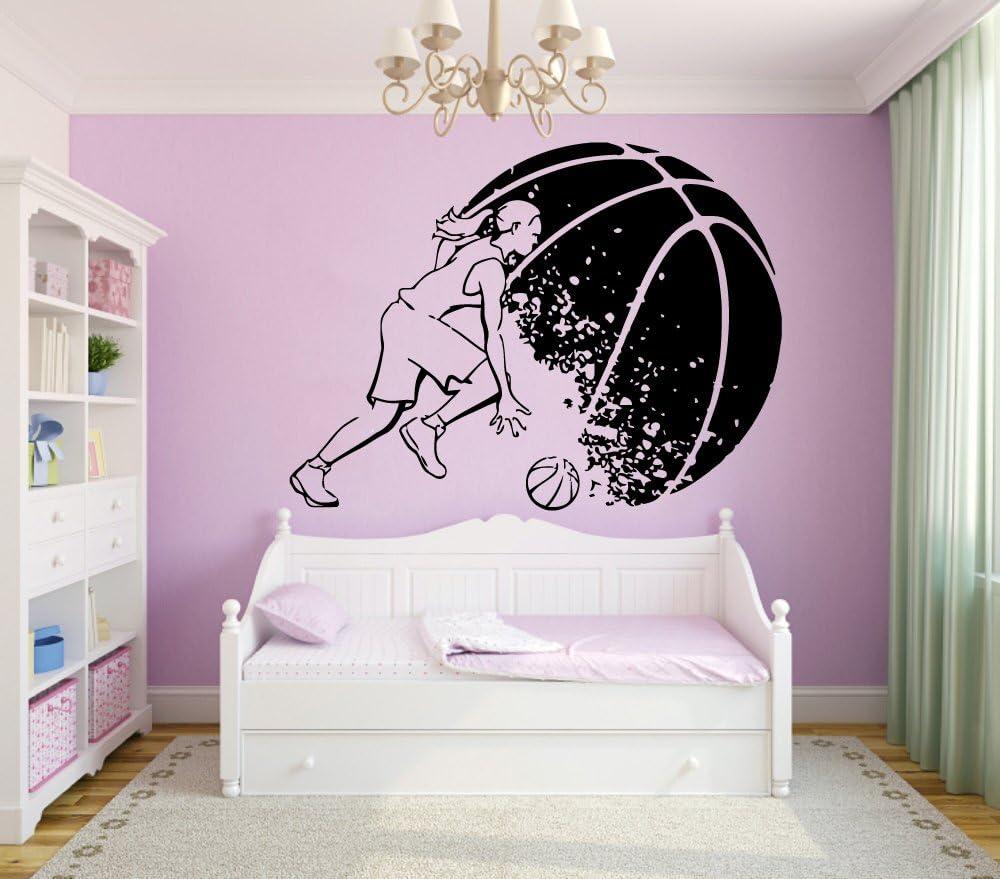 Wall Decor Vinyl Sticker Sport Girl Basketball Player Decal Gym Design Kg79