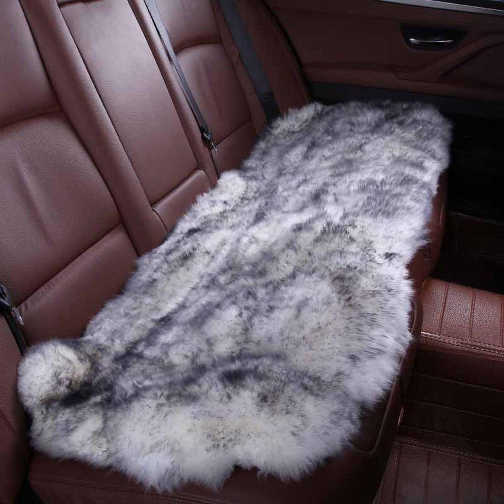 rownfur豪華な本オーストラリアシープスキンノンスリップカーシートクッションカバーソフト厚天然ファーウール椅子パッド(1シート背面132length2widthcm) グレイ 007  グレー B07F87LS9F