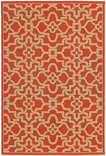 Tommy Bahama Seaside 3.7 X 5.6 Indoor/Outdoor Rug By Oriental Weavers - Orange & Beige (Rugs Bahama Tommy Outdoor)