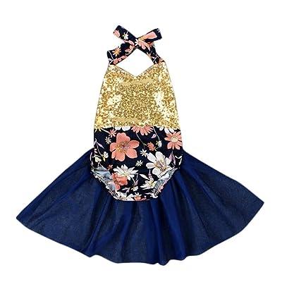 Baby Girls Romper, Inkach Little Girl Sequins Backless Romper Jumpsuit Kids Sunsuit Bodysuit Clothing 0-24M