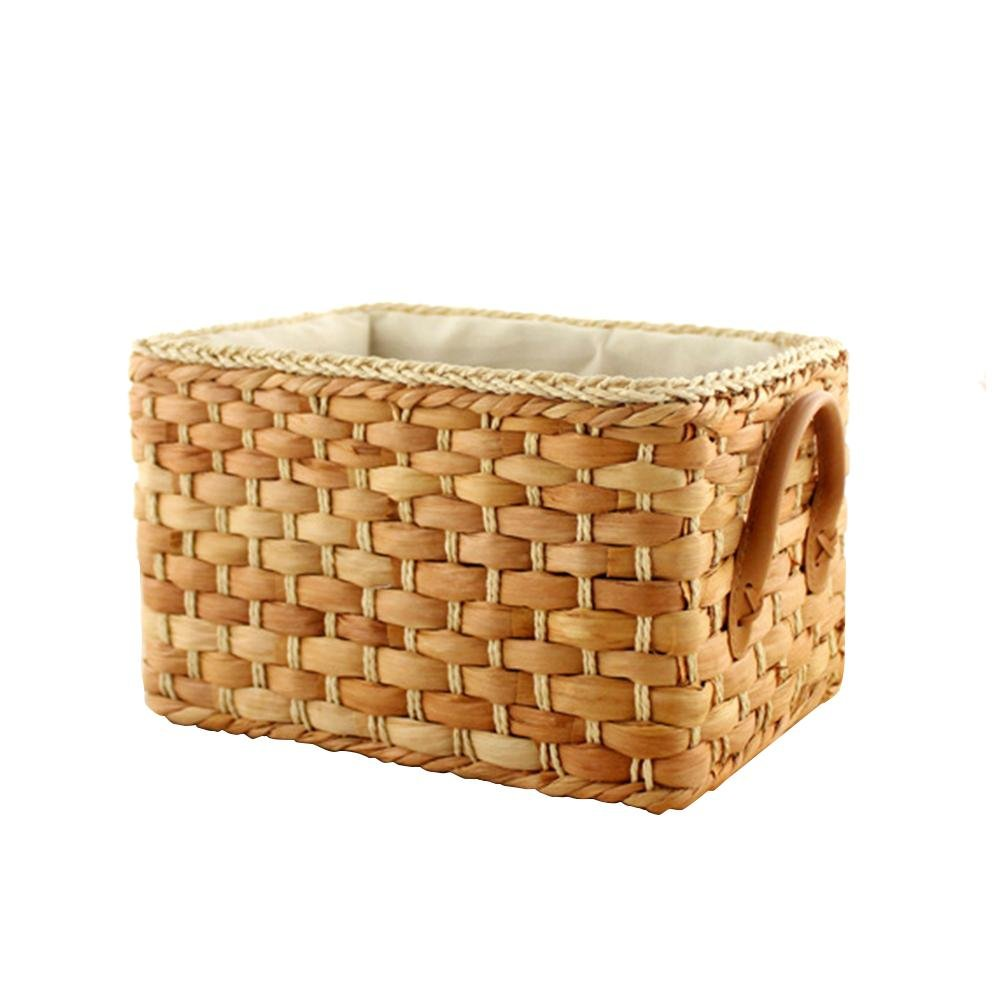 LianLe Corn Husk Woven Storage Basket with Lining, Japanese Desktop Home Sundries Storage Boxes with Carry Handles