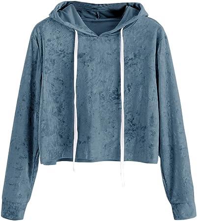 LILICAT Sudadera con Capucha de Terciopelo para Mujer, Camisas Blusas Corto de Otoño Manga Larga Elegantes (XL, Azul): Amazon.es: Hogar