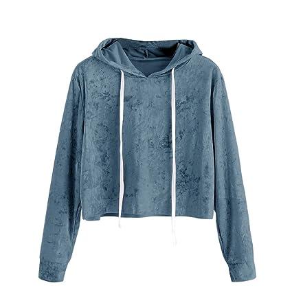 Sudadera con capucha de Terciopelo para mujer, LILICAT Camisas Blusas Corto de Otoño Manga larga