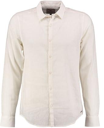 Camisa Garcia de Corte Ajustado, 55% Lino, Talla pequeña, Color Blanco: Amazon.es: Ropa y accesorios