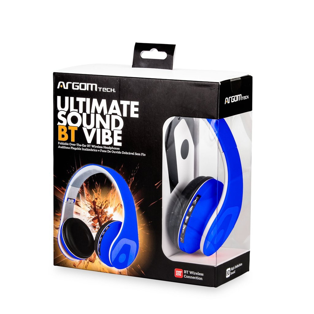 Amazon.com: Argom Tech Ultimate Sound BlueTooth Headphones Vibe BLUE/WHITE/BLACK.RED (Black): Musical Instruments