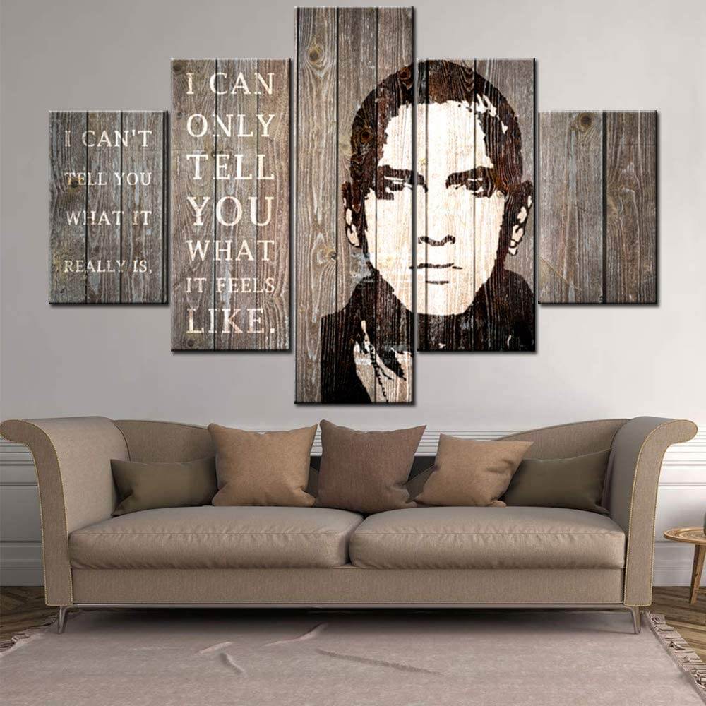 Wooden Wall Art Decor Famous Rapper eminem Pictures Celebrity Quotes Paintings 5 Pieces Canvas Wall Art Modern Artwork Home Decor for Living Room Framed Gallery-wrapped Ready to Hang(60''Wx40''H)…