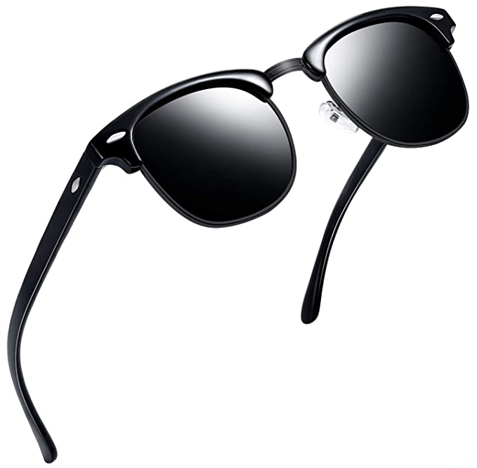 d381c2d9719 Joopin Semi Rimless Polarized Sunglasses Women Men Retro Brand Sun Glasses  (All Black)