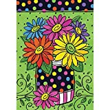 Polka Dot Daisies - Standard Size, Decorative Double Sided, Licensed and Copyrighted Flag - Printed IN USA by Custom Decor Inc. 28 Inch X 40 Inch approx.