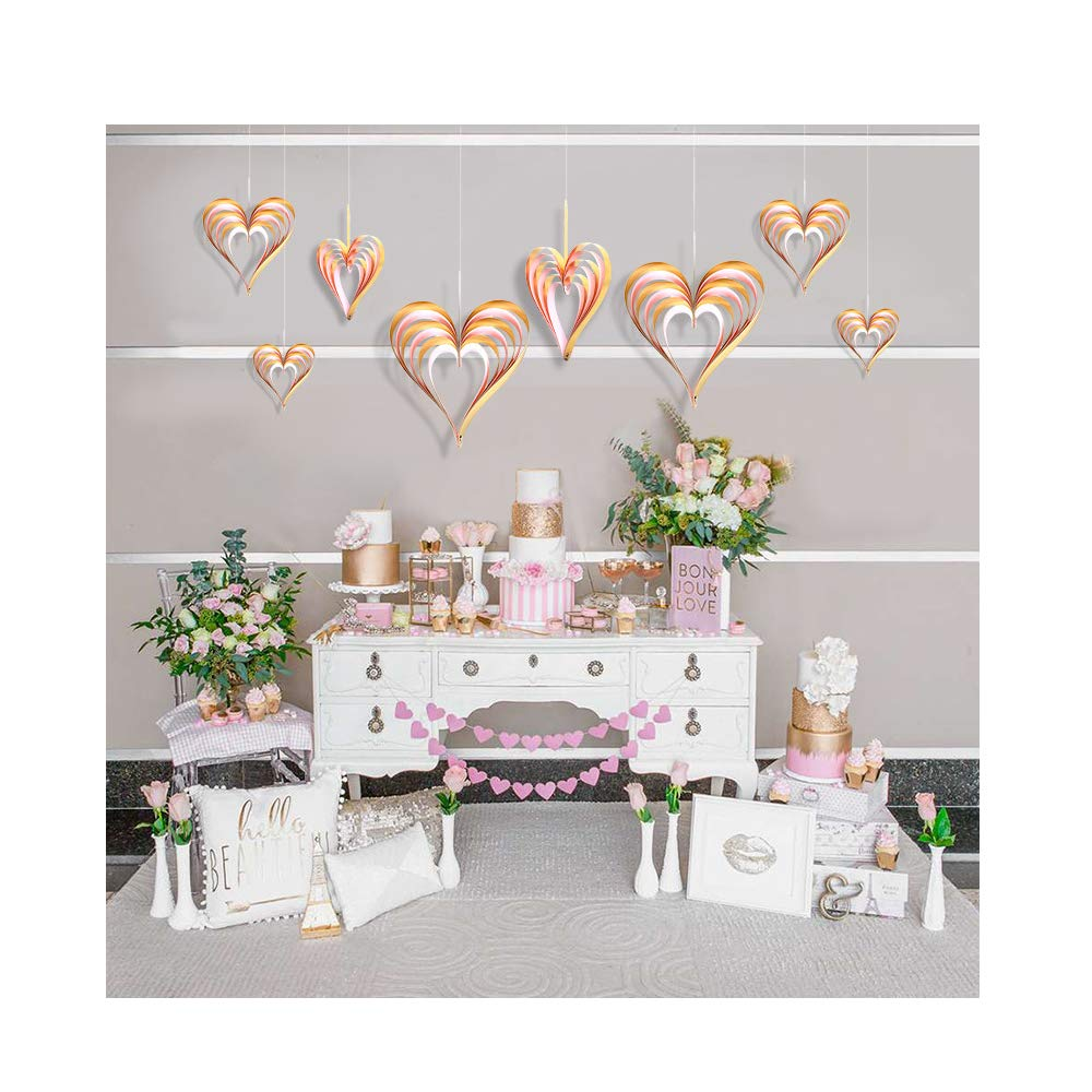 Gold + Pink) 4 Pcs Heart-Shaped Hanging Decorations Banner Three-Dimensiona Paper Banner Ornaments for Valentines Day Wedding Birthday Party