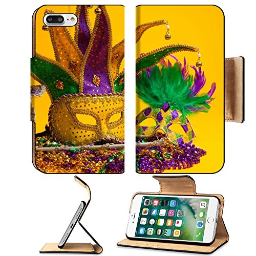 Luxlady Premium Apple iPhone 7 Plus Flip Pu Leather Wallet Case iPhone 7 Plus 25892130 A festive colorful group of mardi gras or carnivale masks on a yellow background Venetian mask (Group Holiday Costumes Ideas)