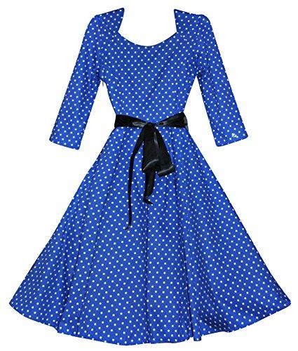 40's Damen 50's Vintage-Stil, Blau mit weißen Punkten, kurze Ärmel, Rockabilly Kleid Jive Swing
