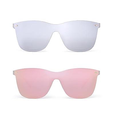 7f71c39c6d JIM HALO Rimless Mirrored Sunglasses One Piece Frameless Eyeglasses Men  Women 2 Pack (Silver