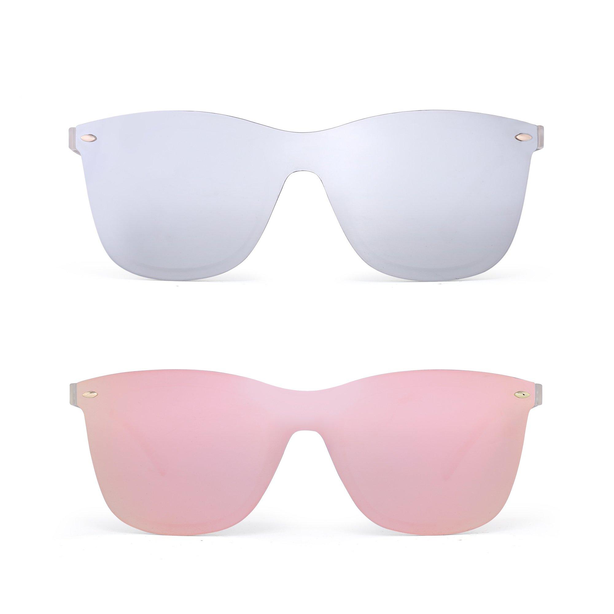 Rimless Mirrored Sunglasses One Piece Frameless Eyeglasses Men Women 2 Pack (Silver & Pink)