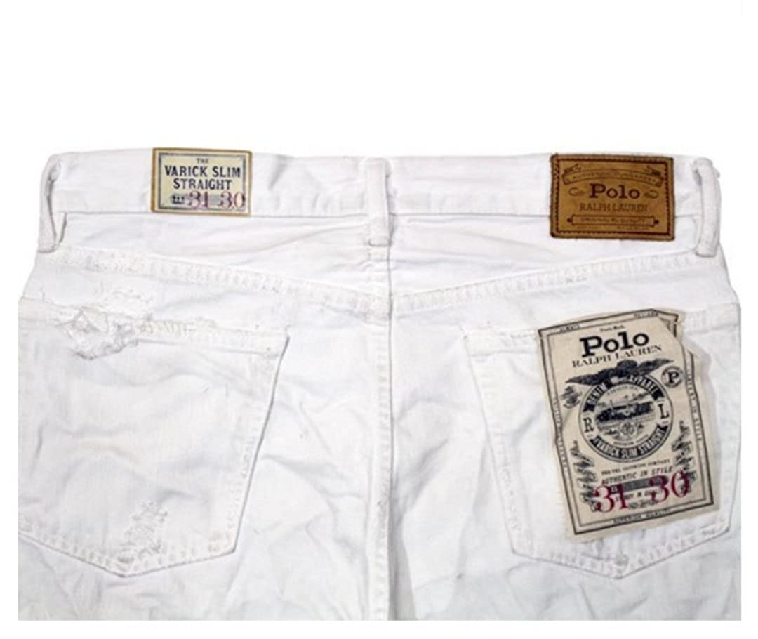 375c0d70 Ralph Lauren Polo Men Varick Slim Straight Distressed White Jeans 32 ...