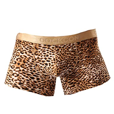 5445e973c1a7 WEI QIU Men's Sexy Leopard Print Pouch Boxers Low Rise Underwear Shorts  Medium