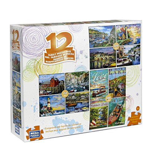 - 12 Puzzles in 1 Box Family Puzzle Pack (Various Artists) Lighthouse, Ships, Boats, Sail Boats, Ocean, Sea Ports, Docks, Nautical