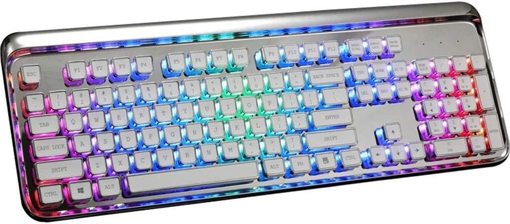 Lflzcp Mechanical RGB Backlight Plating Chocolate Keycaps Keyboard,Blue Switch Multimedia Ergonomic USB Wired Game Keyboard for PC Laptop//Computer Color : Silver