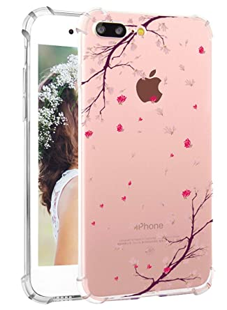 Hepix Iphone 8 Plus Clear Case Cherry Blossom Iphone 7 Plus Case Floral Printed Pink Flowers Soft Flexible Tpu Protective Phone Cover With Four Bumper