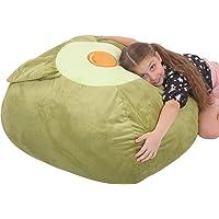 "youngeyee Giant Avocado Stuffed Animal Storage Kids Bean Bag Chair 24""x24"" Velvet Toy Organization and Storage Zipper…"