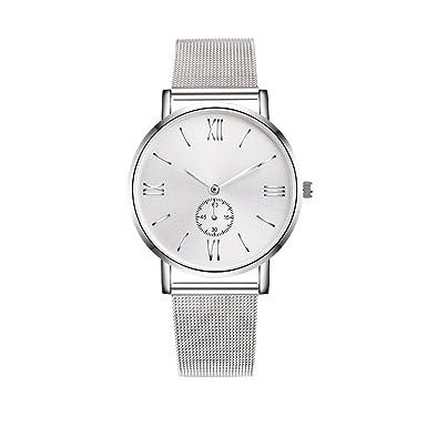 Dressin Geneva Watch, Women Men Classic Stainless Steel Crystal Analog Quartz Wrist Watch Mesh Bracelet