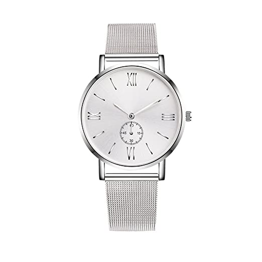 Amazon.com: Dressin Geneva Watch, Women Men Classic Stainless Steel Crystal Analog Quartz Wrist Watch Mesh Bracelet Watch (Silver): Clothing