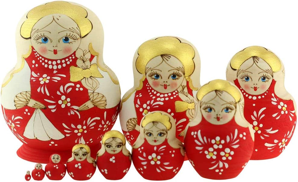 Azhna 10 pcs Souvenir Matryoshka Home Decor Collection Nesting Doll Woodburned and Hand Painted Russian Doll 14 cm Wooden Stacking Doll (Red)