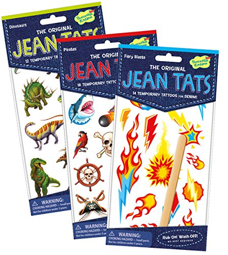 Peaceable Kingdom Jean Tats Crazy Cool Assortment of Temporary Tattoos for Fabric