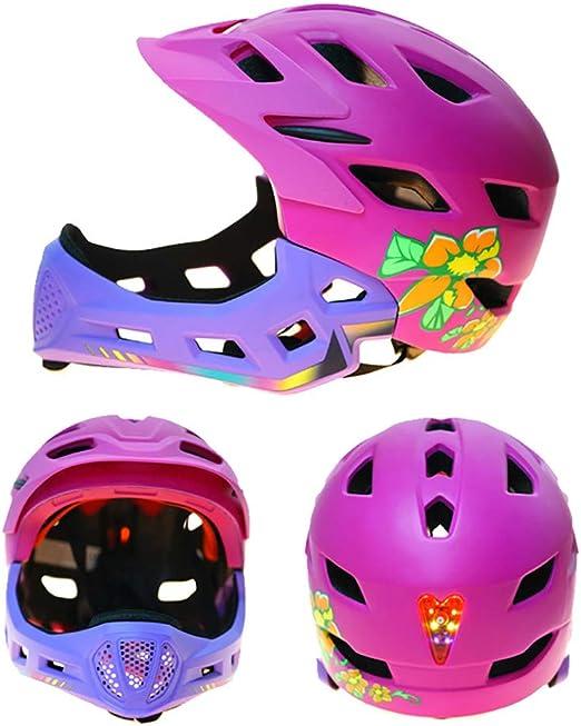 Leaf&Y Niños Bicicleta Casco de Seguridad de Cara Completa ...
