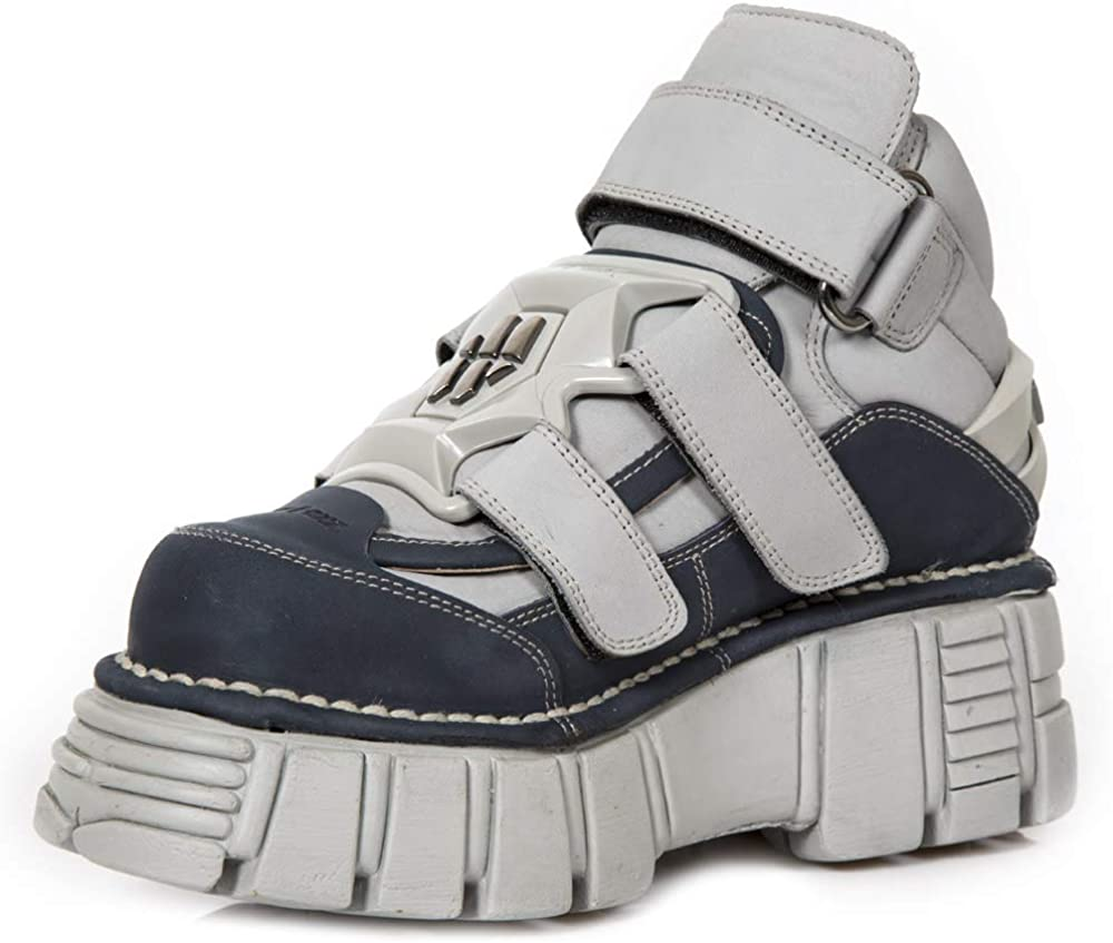 Unisex New Rock NR M.285 S18 Blue,Grey Boots Metallic