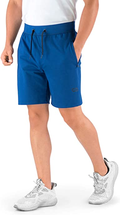 Roman Contour Athletics Gym Shorts for Men Mens Workout Running Shorts with Zipper Pockets