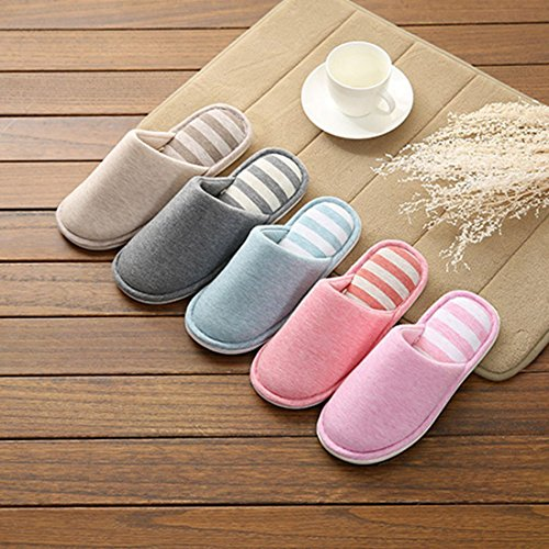 Slip Toe Open 6 YUENA Sandals Couple CARE Home Slippers Cotton Non ZqfwUIq