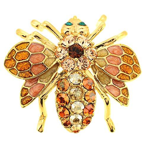 Fantasyard Golden Topaz Bee Bug Swarovski Crystal Pin Brooch