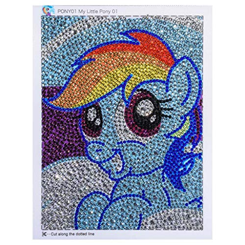 DDLmax 5D DIY Diamond Painting Kits for Kids, Mosaic Sticker by Numbers Kits Arts and Crafts Set for Children, Cartoon Horse