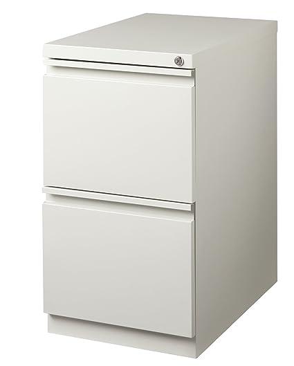Office Dimensions Commercial Grade 20u0026quot; Deep 2 Drawer Mobile Metal Pedestal  File Cabinet, Light