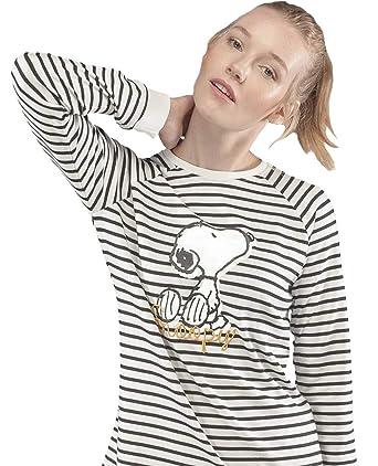 f46551e9d7 GISELA Pijama para Mujer a Rayas de Invierno Snoopy  Amazon.es  Ropa y  accesorios