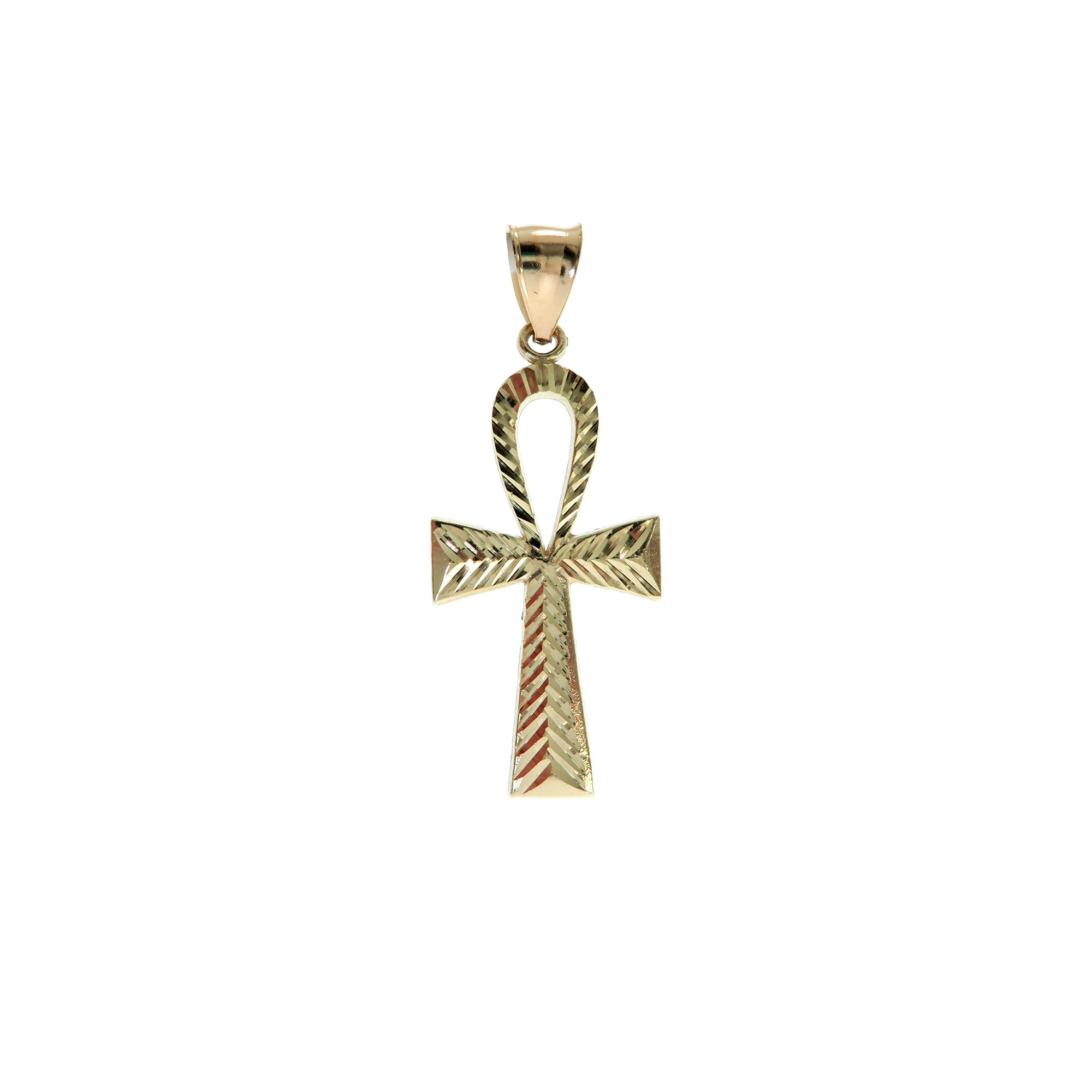Genuine Stamped Authentic 10K Yellow Two-Tone Gold Charm Pendant Hip Hop Jewelry Gift Christmas Present (Ankh Cross)