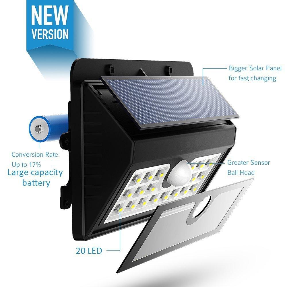 Amazon.com : 4-Pack 20 LED Solar Lights, Outdoor Motion Sensor Wall Light Security Lighting for Patio Garden : Garden & Outdoor