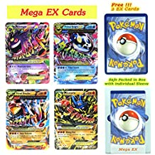 EX Mega Pack of 4 Mega- Gengar Primal Groudon Primal Kyogre and Lucario with Free 2 EX Random All Flashy Cards English with Box and Sleeve.