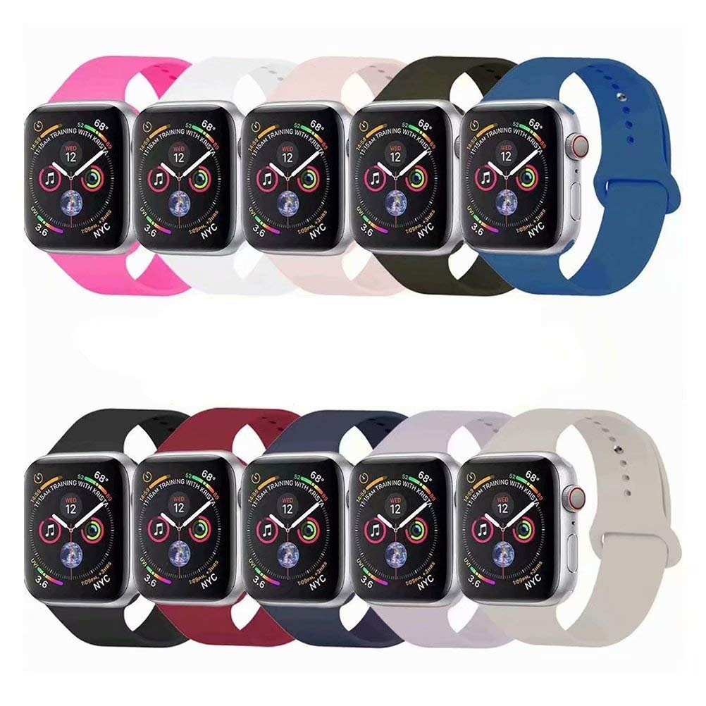 YC YANCH Compatible with for Apple Watch Band 42mm 44mm, Soft Silicone Sport Band Replacement Wrist Strap Compatible with for iWatch Series 5/4/3/2/1, Nike+, Sport, Edition, S/M, Size, Colorful by YC YANCH