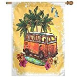 HUANGLING Hippie Classic Old Bus With Surfboard Freedom Holiday Exotic Life Sketch Style Art Home Flag Garden Flag Demonstrations Flag Family Party Flag Match Flag 27''x37''