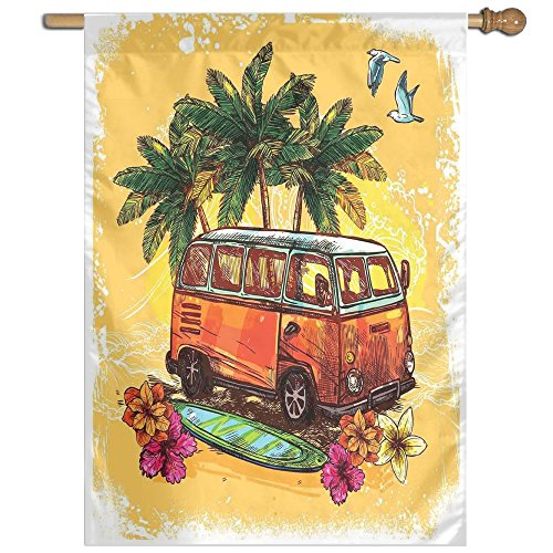 HUANGLING Hippie Classic Old Bus With Surfboard Freedom Holiday Exotic Life Sketch Style Art Home Flag Garden Flag Demonstrations Flag Family Party Flag Match Flag 27''x37'' by HUANGLING