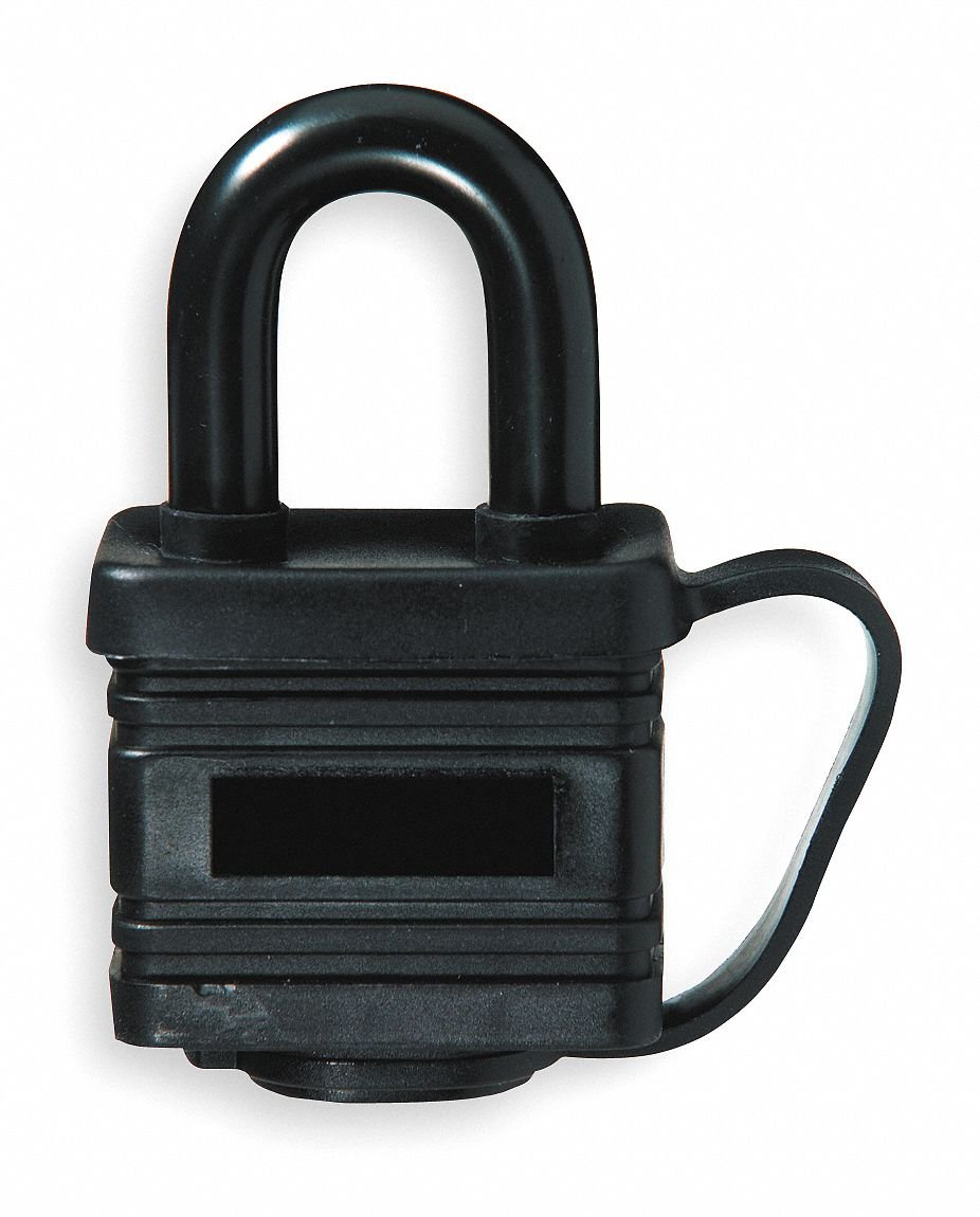 Different-Keyed Padlock, Open Shackle Type, 7/8'' Shackle Height, Black- Pack of 5